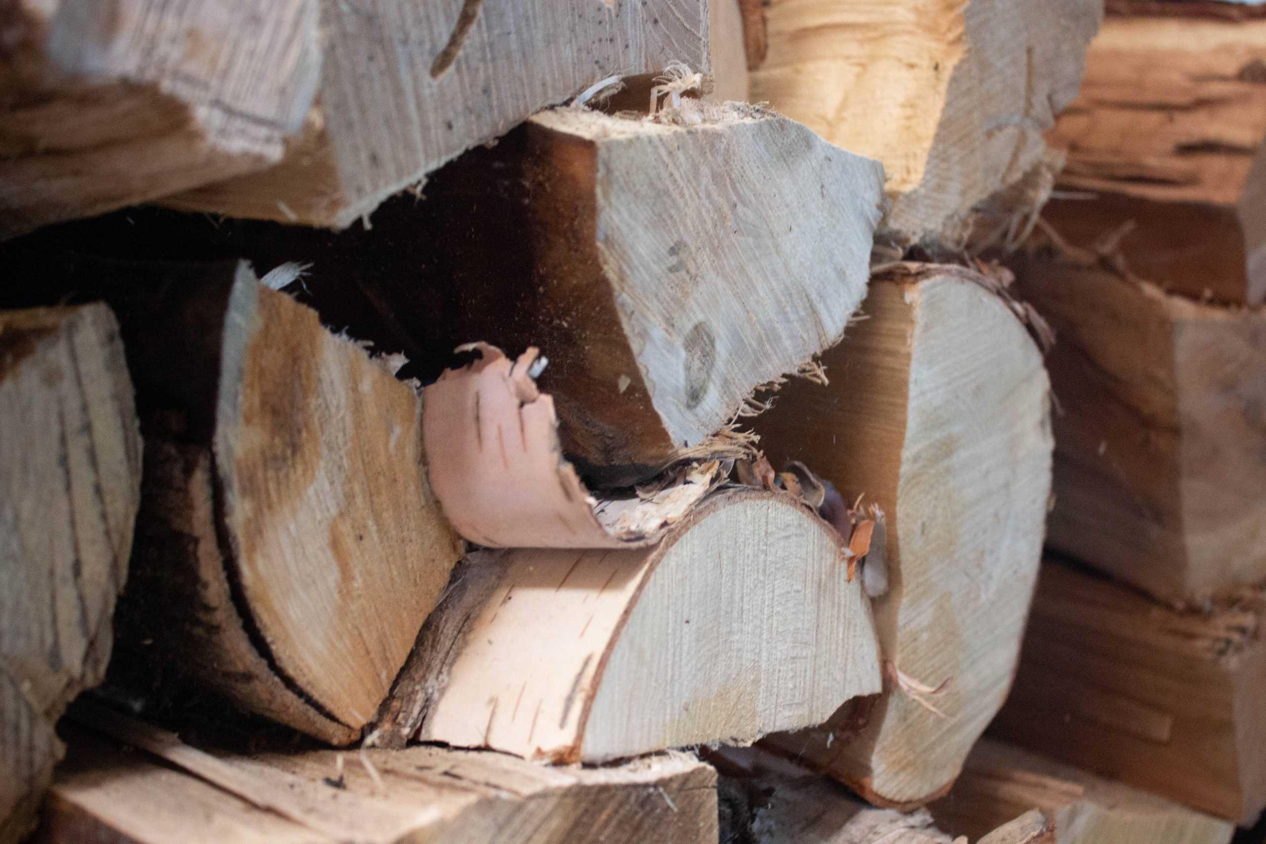 Close up of stack of wood
